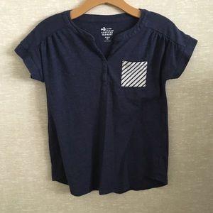 Old Navy Navy Blue Striped Pocket Tee